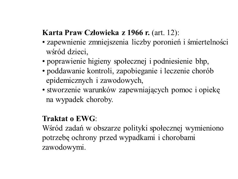 Karta Praw Człowieka z 1966 r. (art. 12): zapewnienie zmniejszenia liczby poronień i śmiertelności wśród dzieci, poprawienie higieny społecznej i podn