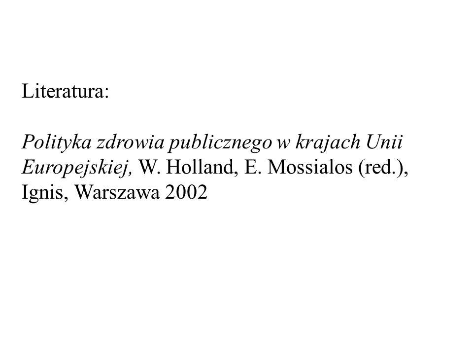 Literatura: Polityka zdrowia publicznego w krajach Unii Europejskiej, W. Holland, E. Mossialos (red.), Ignis, Warszawa 2002
