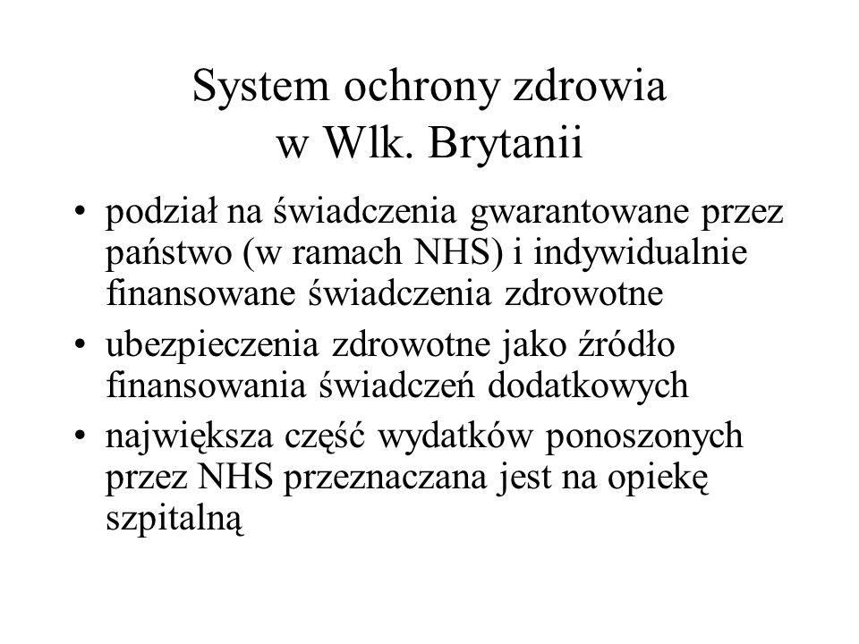 System ochrony zdrowia w Wlk. Brytanii podział na świadczenia gwarantowane przez państwo (w ramach NHS) i indywidualnie finansowane świadczenia zdrowo