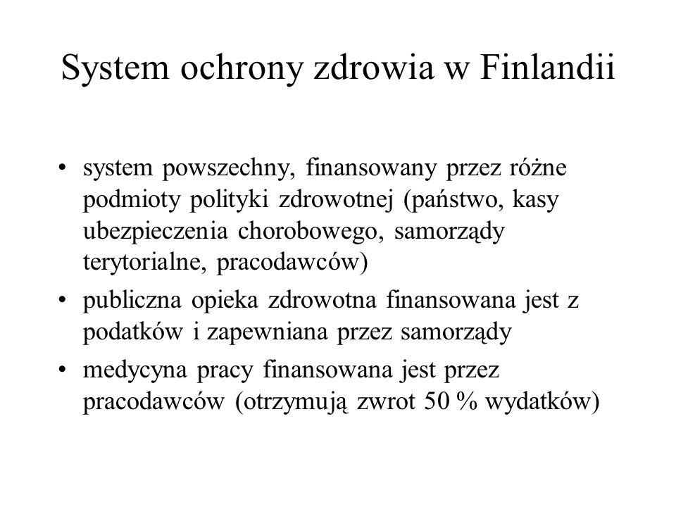 System ochrony zdrowia w Finlandii system powszechny, finansowany przez różne podmioty polityki zdrowotnej (państwo, kasy ubezpieczenia chorobowego, samorządy terytorialne, pracodawców) publiczna opieka zdrowotna finansowana jest z podatków i zapewniana przez samorządy medycyna pracy finansowana jest przez pracodawców (otrzymują zwrot 50 % wydatków)