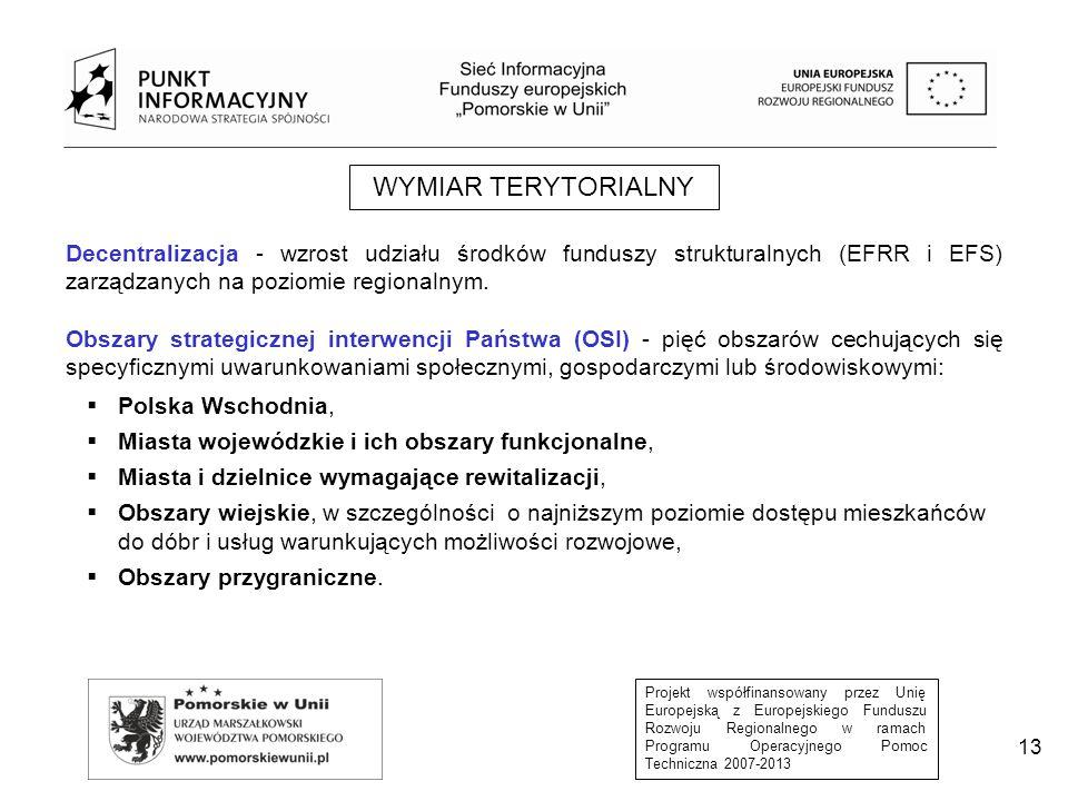 Projekt współfinansowany przez Unię Europejską z Europejskiego Funduszu Rozwoju Regionalnego w ramach Programu Operacyjnego Pomoc Techniczna 2007-2013 13 WYMIAR TERYTORIALNY Decentralizacja - wzrost udziału środków funduszy strukturalnych (EFRR i EFS) zarządzanych na poziomie regionalnym.