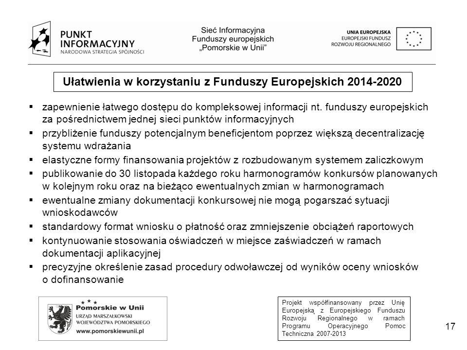 Projekt współfinansowany przez Unię Europejską z Europejskiego Funduszu Rozwoju Regionalnego w ramach Programu Operacyjnego Pomoc Techniczna 2007-2013 17 Ułatwienia w korzystaniu z Funduszy Europejskich 2014-2020  zapewnienie łatwego dostępu do kompleksowej informacji nt.