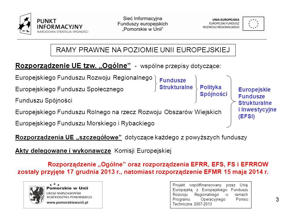 Projekt współfinansowany przez Unię Europejską z Europejskiego Funduszu Rozwoju Regionalnego w ramach Programu Operacyjnego Pomoc Techniczna 2007-2013 3 RAMY PRAWNE NA POZIOMIE UNII EUROPEJSKIEJ Rozporządzenie UE tzw.
