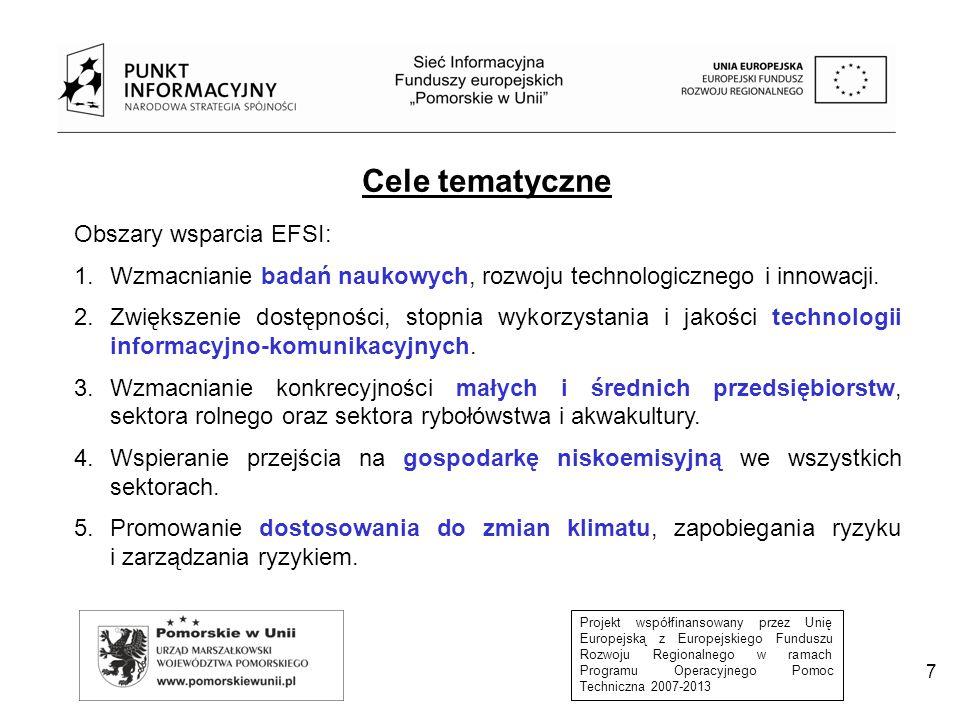 Projekt współfinansowany przez Unię Europejską z Europejskiego Funduszu Rozwoju Regionalnego w ramach Programu Operacyjnego Pomoc Techniczna 2007-2013 7 Cele tematyczne Obszary wsparcia EFSI: 1.Wzmacnianie badań naukowych, rozwoju technologicznego i innowacji.