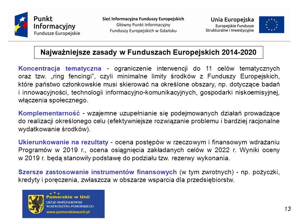 """13 Najważniejsze zasady w Funduszach Europejskich 2014-2020 Koncentracja tematyczna - ograniczenie interwencji do 11 celów tematycznych oraz tzw. """"rin"""