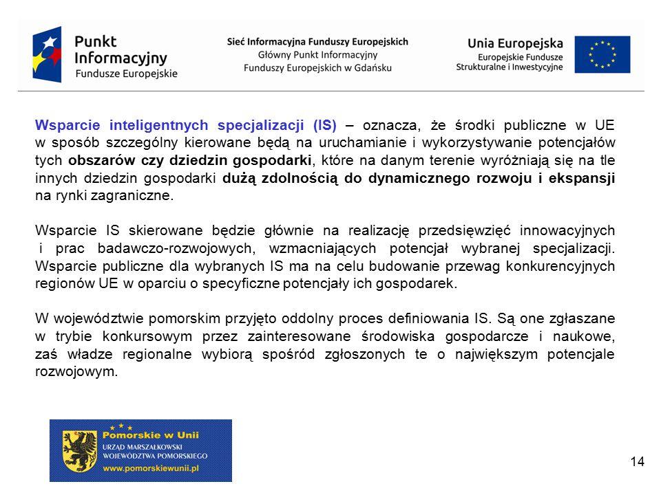 14 Wsparcie inteligentnych specjalizacji (IS) – oznacza, że środki publiczne w UE w sposób szczególny kierowane będą na uruchamianie i wykorzystywanie