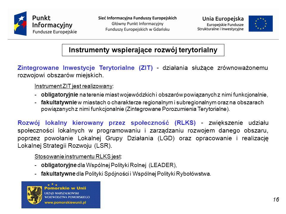 16 Instrumenty wspierające rozwój terytorialny Zintegrowane Inwestycje Terytorialne (ZIT) - działania służące zrównoważonemu rozwojowi obszarów miejsk