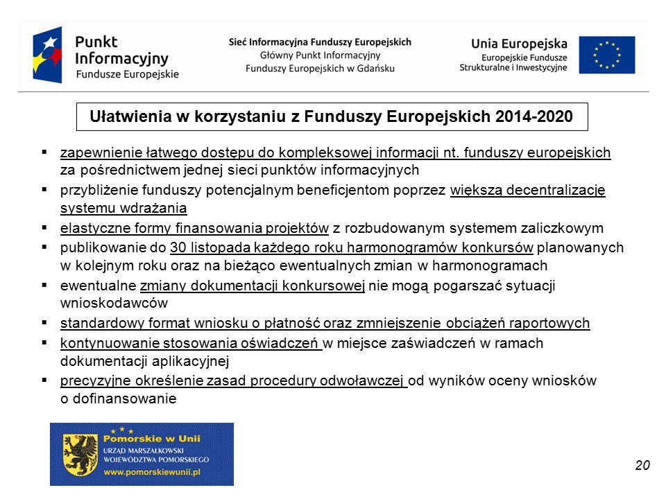 20 Ułatwienia w korzystaniu z Funduszy Europejskich 2014-2020  zapewnienie łatwego dostępu do kompleksowej informacji nt. funduszy europejskich za po