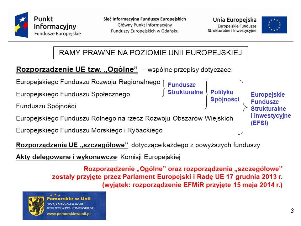 """3 RAMY PRAWNE NA POZIOMIE UNII EUROPEJSKIEJ Rozporządzenie UE tzw. """"Ogólne"""" - wspólne przepisy dotyczące: Europejskiego Funduszu Rozwoju Regionalnego"""