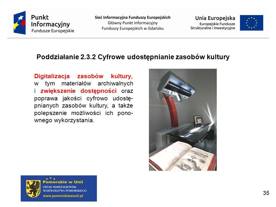 35 Poddziałanie 2.3.2 Cyfrowe udostępnianie zasobów kultury Digitalizacja zasobów kultury, w tym materiałów archiwalnych i zwiększenie dostępności ora