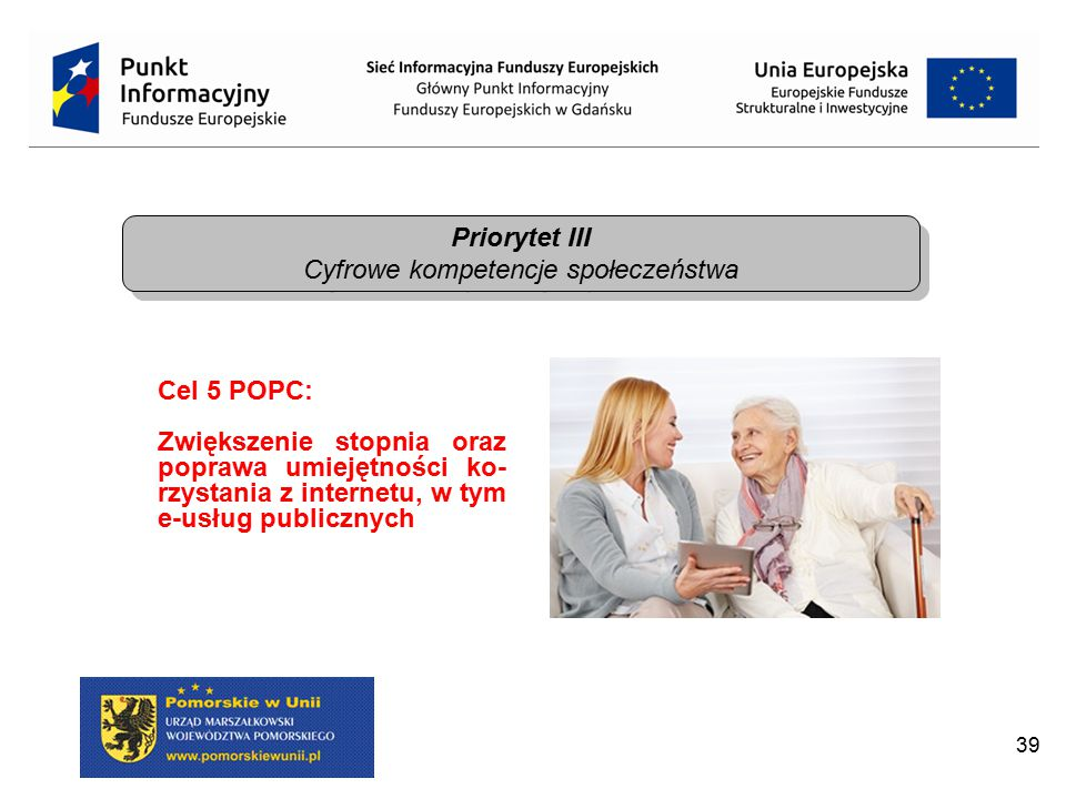39 Priorytet III Cyfrowe kompetencje społeczeństwa Priorytet III Cyfrowe kompetencje społeczeństwa Cel 5 POPC: Zwiększenie stopnia oraz poprawa umieję
