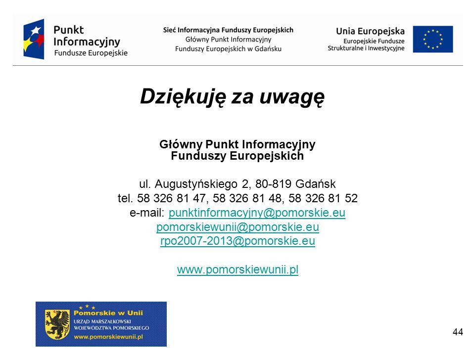 Dziękuję za uwagę Główny Punkt Informacyjny Funduszy Europejskich ul. Augustyńskiego 2, 80-819 Gdańsk tel. 58 326 81 47, 58 326 81 48, 58 326 81 52 e-
