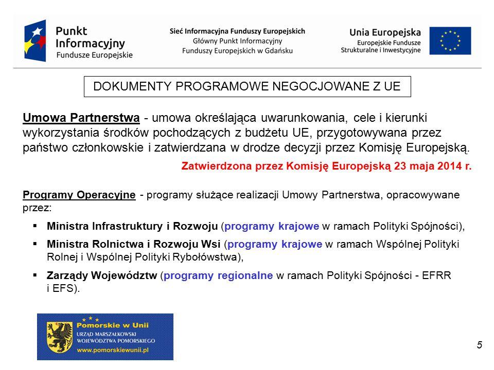 5 DOKUMENTY PROGRAMOWE NEGOCJOWANE Z UE Umowa Partnerstwa - umowa określająca uwarunkowania, cele i kierunki wykorzystania środków pochodzących z budż