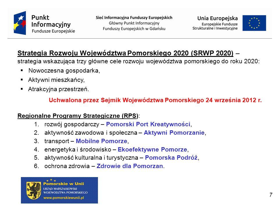 8 Cele tematyczne Obszary wsparcia EFSI: 1.Wzmacnianie badań naukowych, rozwoju technologicznego i innowacji.