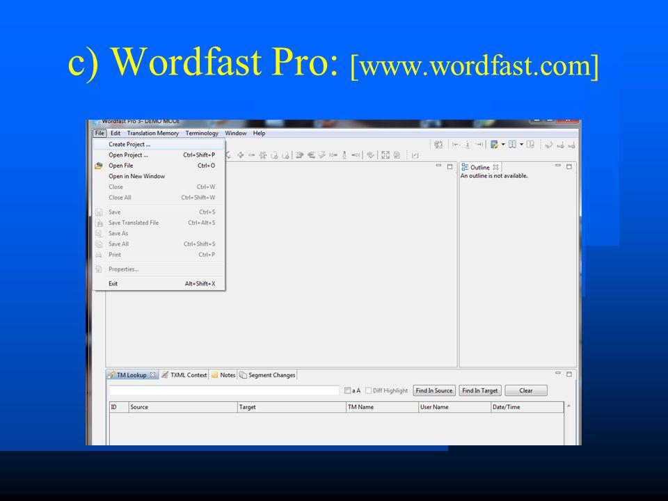 Wygląd modułu TM w ww. programach: a) Wordfast Classic: