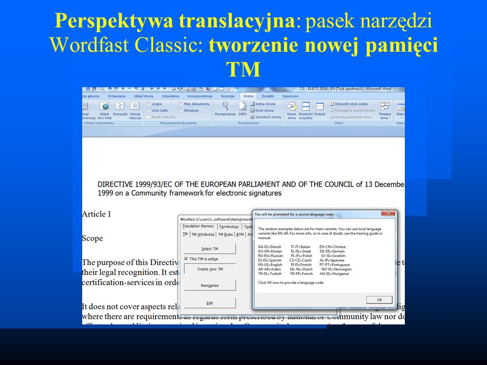 Wygląd modułu: baza terminologii; c) Wordfast Pro: prosty glosariusz [txt], którego nie bardzo da się rozwinąć: