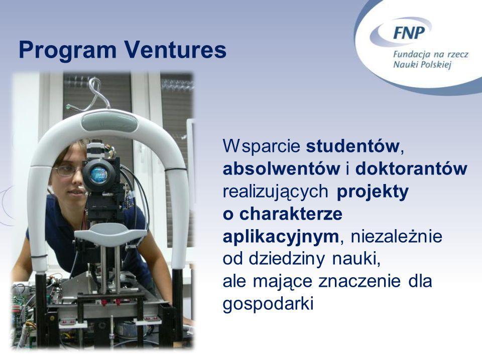 11 Program Ventures Wsparcie studentów, absolwentów i doktorantów realizujących projekty o charakterze aplikacyjnym, niezależnie od dziedziny nauki, a