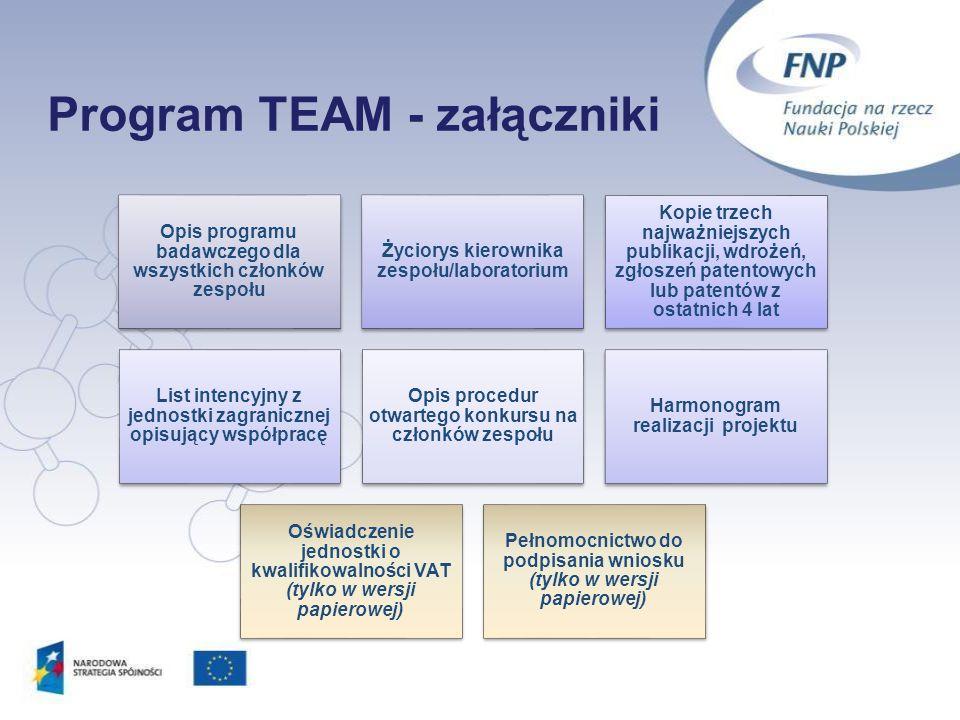 Program TEAM - załączniki 20 Opis programu badawczego dla wszystkich członków zespołu Życiorys kierownika zespołu/laboratorium Kopie trzech najważniej