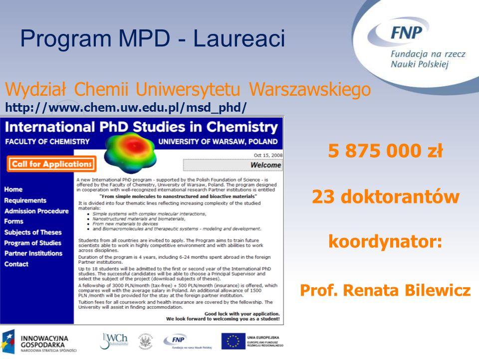 Program MPD - Laureaci 5 875 000 zł 23 doktorantów koordynator: Prof. Renata Bilewicz Wydział Chemii Uniwersytetu Warszawskiego http://www.chem.uw.edu