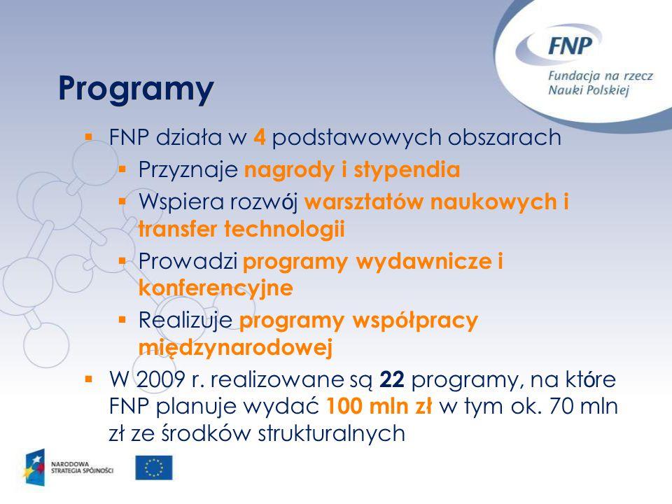 Programy  FNP działa w 4 podstawowych obszarach  Przyznaje nagrody i stypendia  Wspiera rozw ó j warsztat ó w naukowych i transfer technologii  Pr