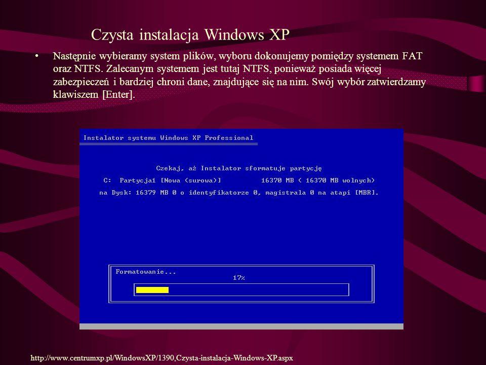 Następnie wybieramy system plików, wyboru dokonujemy pomiędzy systemem FAT oraz NTFS.