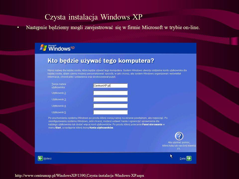 Następnie będziemy mogli zarejestrować się w firmie Microsoft w trybie on-line.