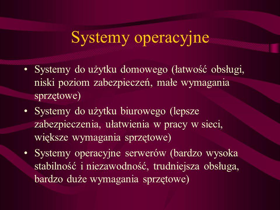 Systemy operacyjne Systemy do użytku domowego (łatwość obsługi, niski poziom zabezpieczeń, małe wymagania sprzętowe) Systemy do użytku biurowego (lepsze zabezpieczenia, ułatwienia w pracy w sieci, większe wymagania sprzętowe) Systemy operacyjne serwerów (bardzo wysoka stabilność i niezawodność, trudniejsza obsługa, bardzo duże wymagania sprzętowe)