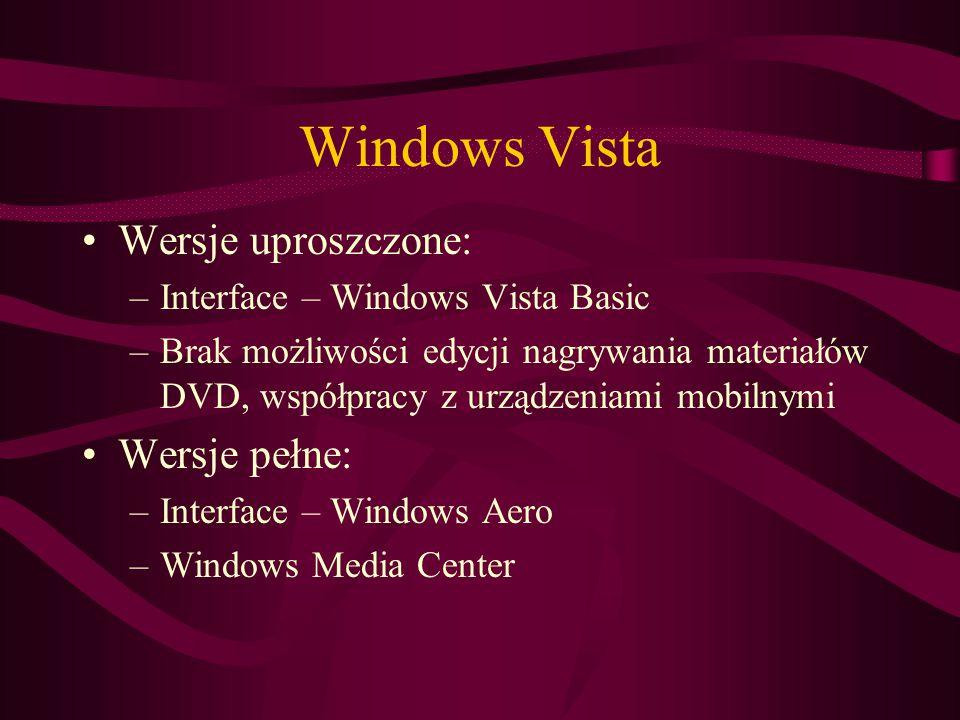 Wersje uproszczone: –Interface – Windows Vista Basic –Brak możliwości edycji nagrywania materiałów DVD, współpracy z urządzeniami mobilnymi Wersje pełne: –Interface – Windows Aero –Windows Media Center