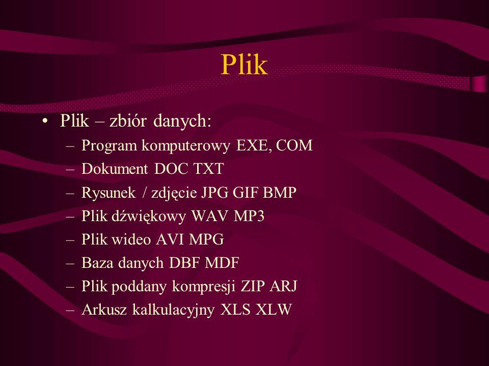 Plik Plik – zbiór danych: –Program komputerowy EXE, COM –Dokument DOC TXT –Rysunek / zdjęcie JPG GIF BMP –Plik dźwiękowy WAV MP3 –Plik wideo AVI MPG –Baza danych DBF MDF –Plik poddany kompresji ZIP ARJ –Arkusz kalkulacyjny XLS XLW