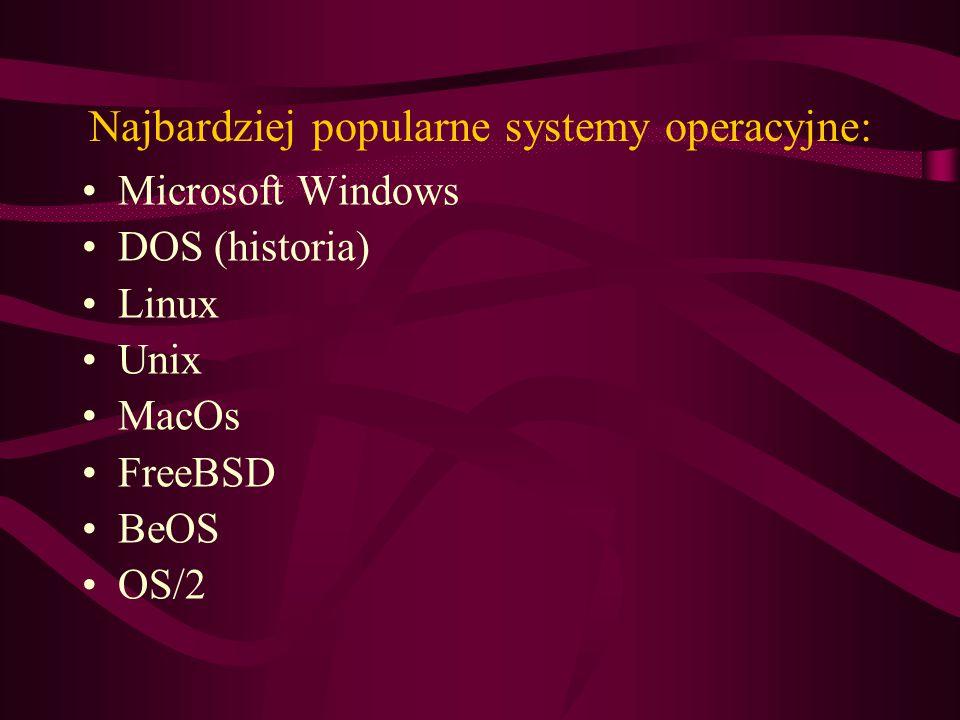 Najbardziej popularne systemy operacyjne: Microsoft Windows DOS (historia) Linux Unix MacOs FreeBSD BeOS OS/2