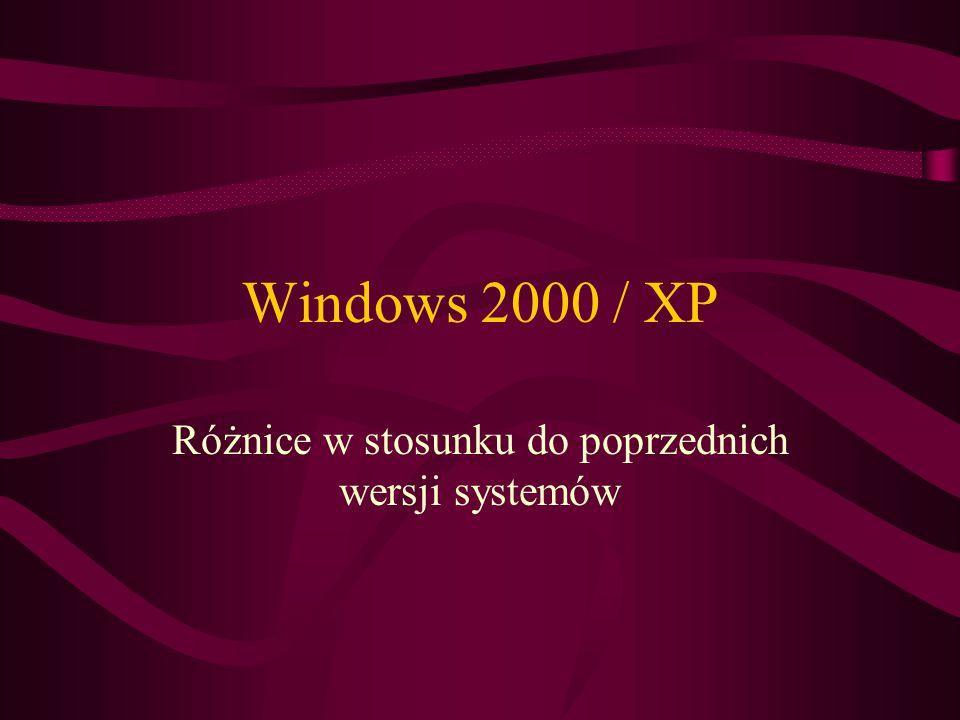 Windows 2000 / XP Różnice w stosunku do poprzednich wersji systemów