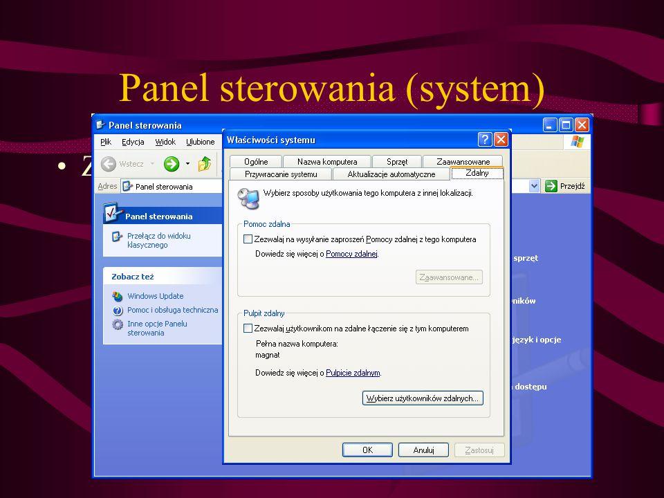Panel sterowania (system) Zdalny pulpit