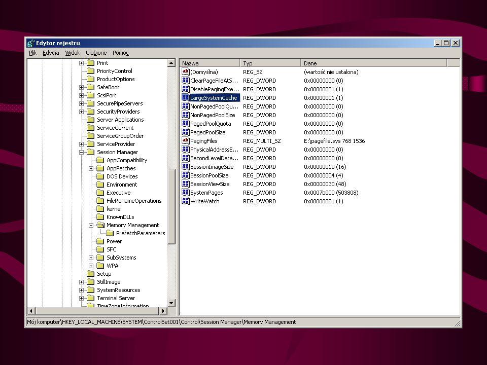Przyśpieszanie windows Usunięcie Dr Watsona Usunięcie klucza: HKEY_LOCAL_MACHINE/SOFTWARE/Microsoft/Windows NT/Current Version/Ae Debug Zapobieganie przechowywaniu jądra systemowego w pliku wymiany HKEY_LOCAL_MACHINE\System\CurrentControlSet\Control\ Session Manager\Memory Management Klucze: DisablePagingExecutive na 1 oraz LargeSystemCache na 1