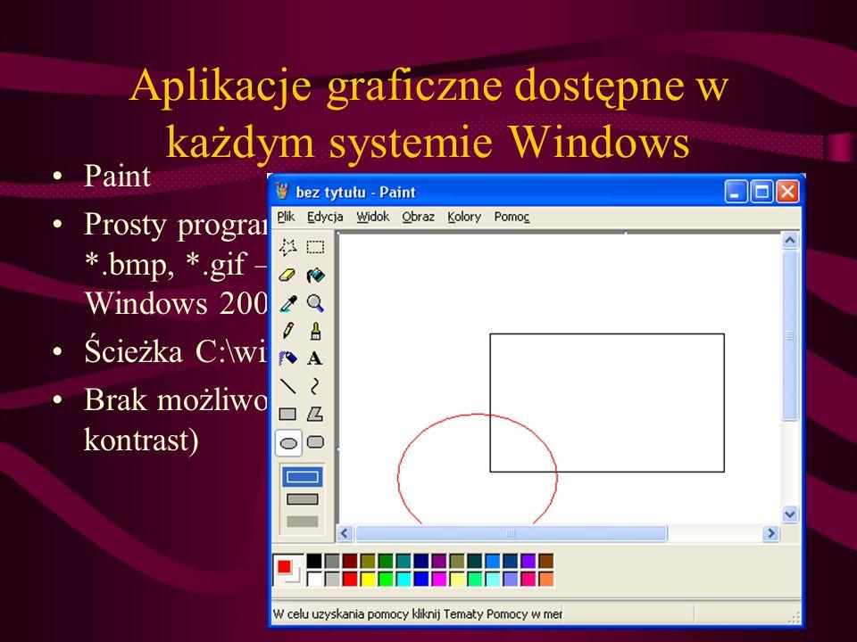 Aplikacje graficzne dostępne w każdym systemie Windows Paint Prosty program do edycji grafiki bitowej w formatach *.bmp, *.gif – edycja formatu *.jpg od systemu Windows 2000 Ścieżka C:\windows\paint.exe Brak możliwości edycji parametrów zdjęć (np..