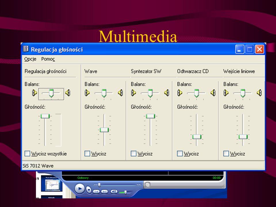Multimedia Odtwarzanie filmów, muzyki także w formacie MP3 (od windows XP)– Windows Media Player (filmy bez napisów) Rejestracja dźwięku np.