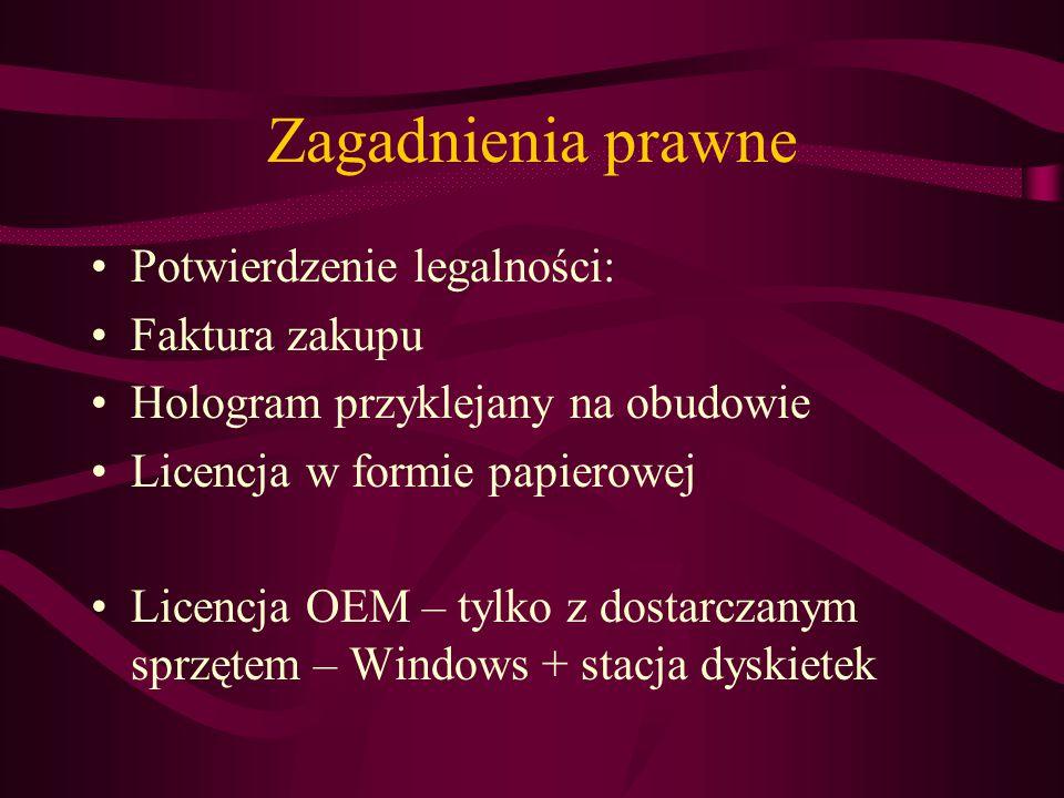 Zagadnienia prawne Potwierdzenie legalności: Faktura zakupu Hologram przyklejany na obudowie Licencja w formie papierowej Licencja OEM – tylko z dostarczanym sprzętem – Windows + stacja dyskietek