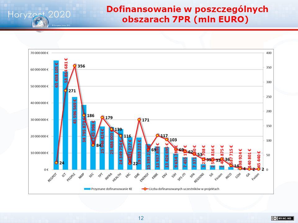 12 Dofinansowanie w poszczególnych obszarach 7PR (mln EURO)