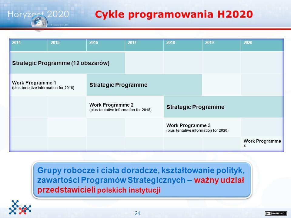 24 Cykle programowania H2020 Grupy robocze i ciała doradcze, kształtowanie polityk, zawartości Programów Strategicznych – ważny udział przedstawicieli