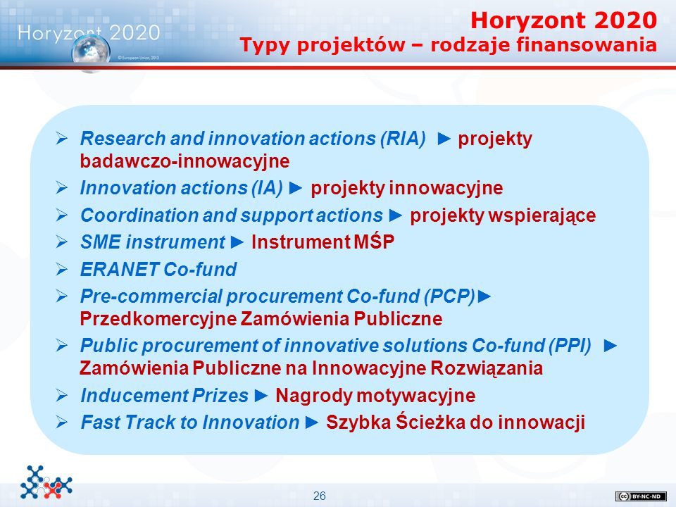 26   Research and innovation actions (RIA) ► projekty badawczo-innowacyjne   Innovation actions (IA) ► projekty innowacyjne   Coordination and s