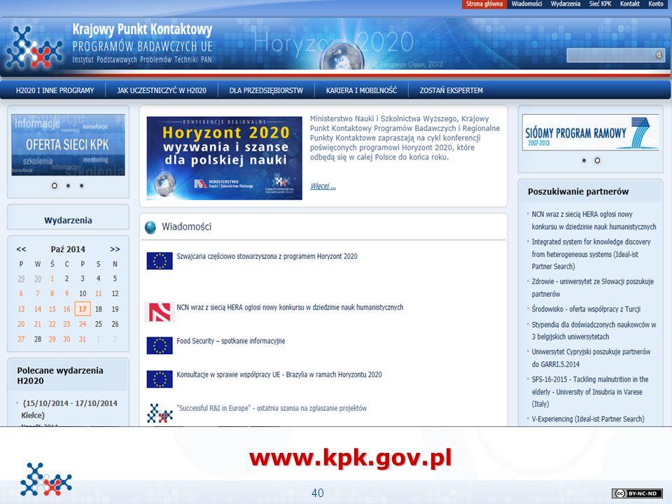 40 www.kpk.gov.pl Przykład podpunktów Przykład podpunktów Stopień niżej i jeszcze niżej –Stopień najniższy Ważne informacje: