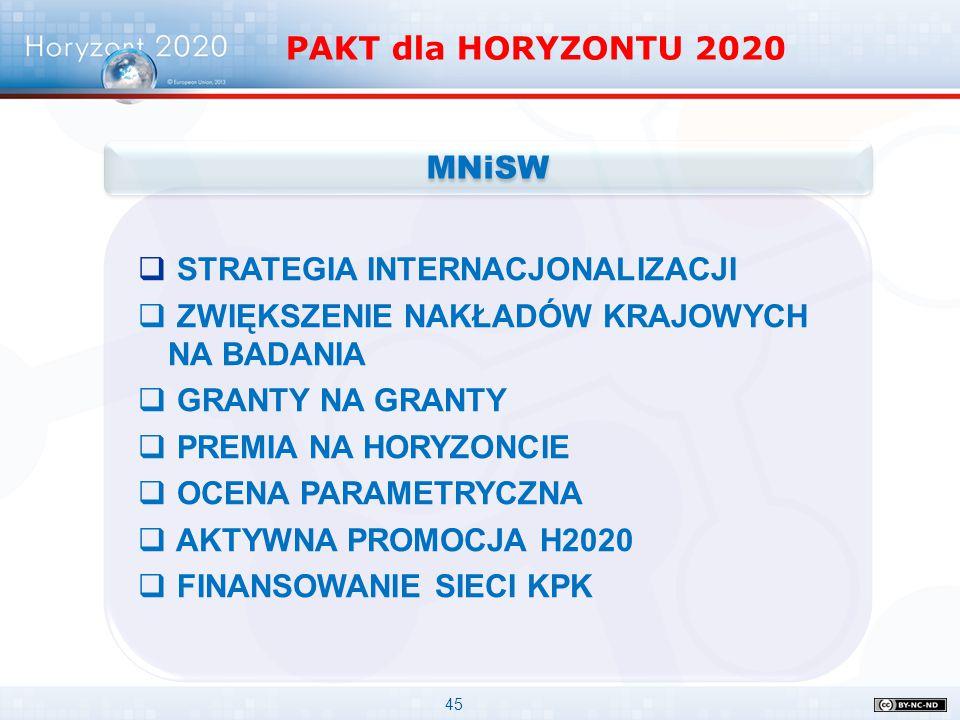 45 PAKT dla HORYZONTU 2020  STRATEGIA INTERNACJONALIZACJI  ZWIĘKSZENIE NAKŁADÓW KRAJOWYCH NA BADANIA  GRANTY NA GRANTY  PREMIA NA HORYZONCIE  OCE