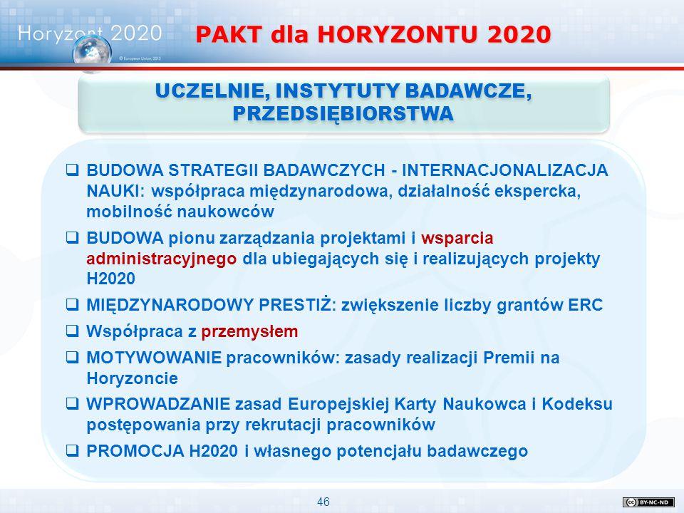 46 PAKT dla HORYZONTU 2020 UCZELNIE, INSTYTUTY BADAWCZE, PRZEDSIĘBIORSTWA  BUDOWA STRATEGII BADAWCZYCH - INTERNACJONALIZACJA NAUKI: współpraca między