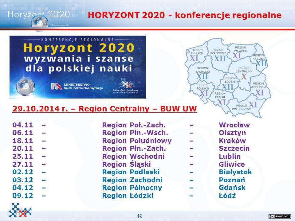 49 HORYZONT 2020 - konferencje regionalne 29.10.2014 r. – Region Centralny – BUW UW 04.11 – Region Poł.-Zach. – Wrocław 06.11 – Region Płn.-Wsch. – Ol