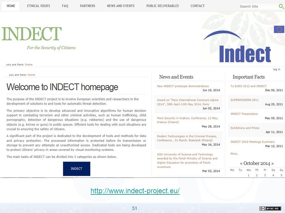 51 Program Horyzont 2020 Gdzie znaleźć potrzebne informacje? http://www.indect-project.eu/