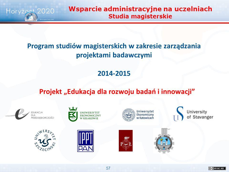 """57 Program studiów magisterskich w zakresie zarządzania projektami badawczymi 2014-2015 Projekt """"Edukacja dla rozwoju badań i innowacji"""" Wsparcie admi"""
