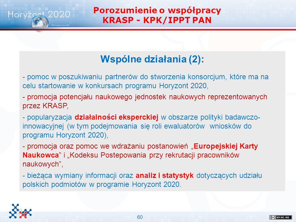 60 Porozumienie o współpracy KRASP - KPK/IPPT PAN Wspólne działania (2): - pomoc w poszukiwaniu partnerów do stworzenia konsorcjum, które ma na celu s