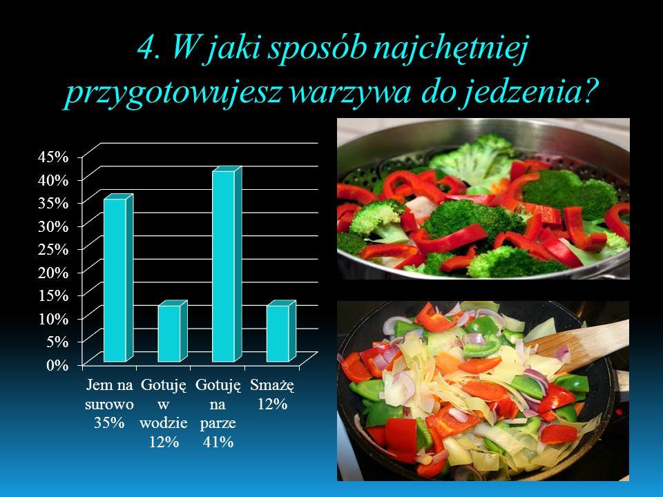 4. W jaki sposób najchętniej przygotowujesz warzywa do jedzenia?
