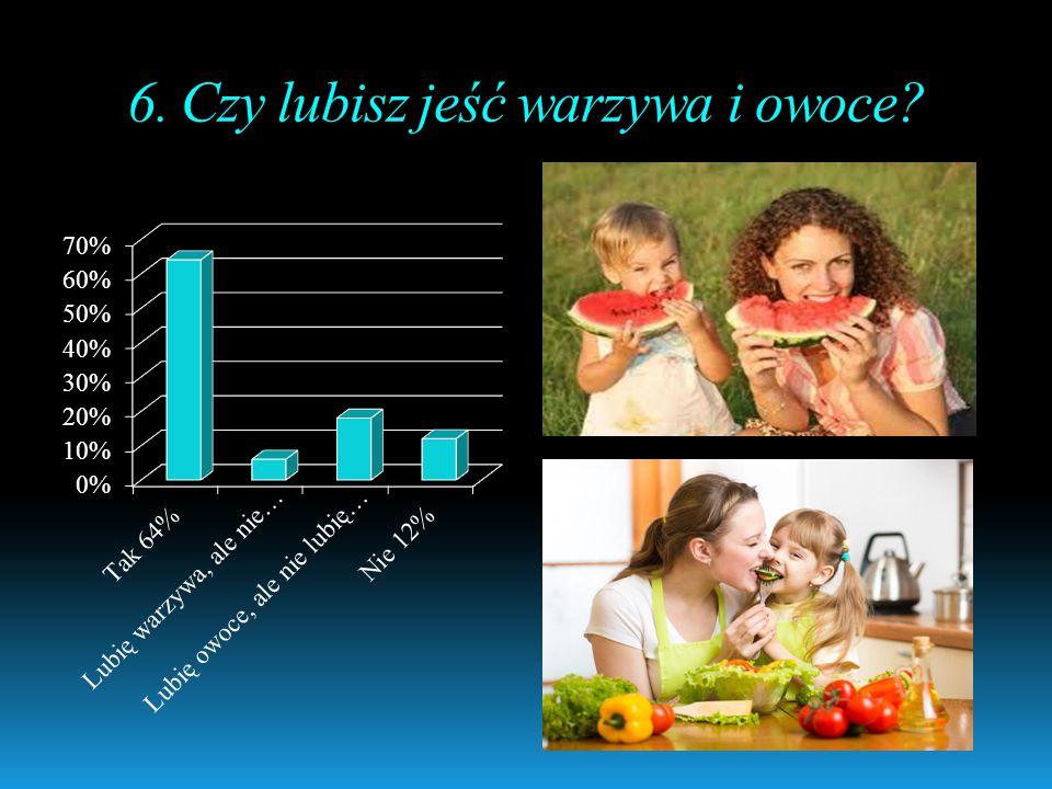 6. Czy lubisz jeść warzywa i owoce?