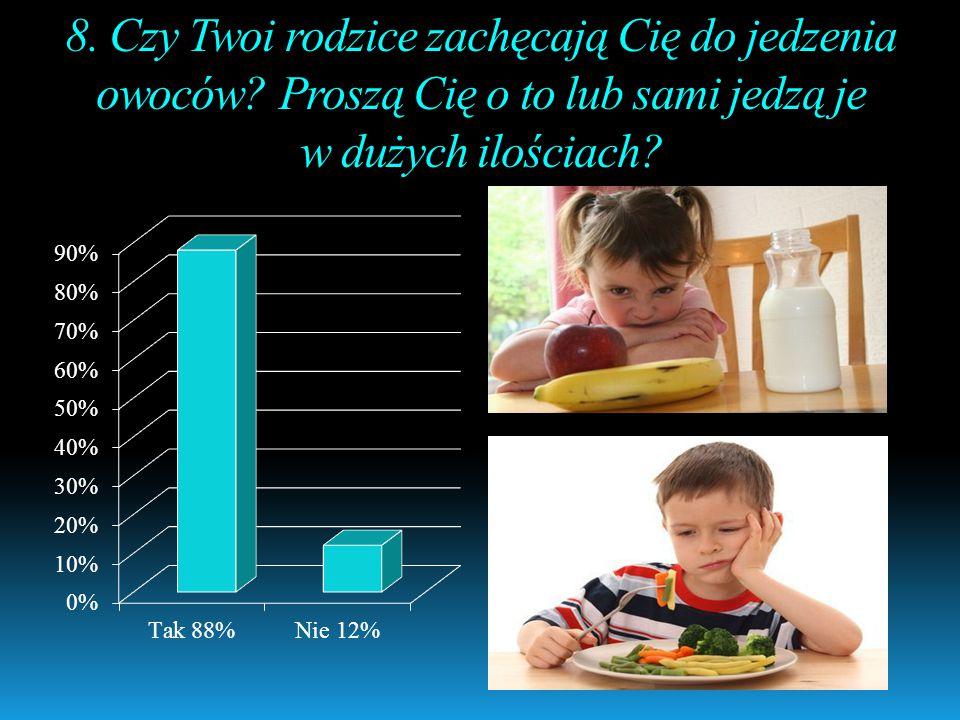8. Czy Twoi rodzice zachęcają Cię do jedzenia owoców? Proszą Cię o to lub sami jedzą je w dużych ilościach?