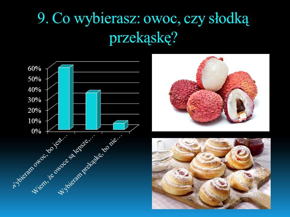 9. Co wybierasz: owoc, czy słodką przekąskę?